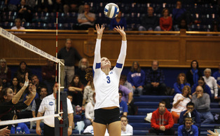 Senior Kelsey Williams clinched Duke's first- set victory with a kill to give it a 1-0 lead.
