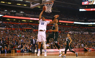 Jahlil Okafor had 18 points and six rebounds to lead the Blue Devils past Michigan State and into Monday's national title game.