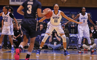Freshman Azura Stevens ranks second on the team with 14.0 points per game through 24 contests this season.