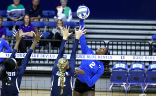 Senior Jeme Obeime recorded eight kills and a career-best 22 digs in Duke's four-set win against Campbell Tuesday night.