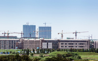The Skyline of DKU over the city of Kunshan. The campus is expected to be ready for occupation July 2014.