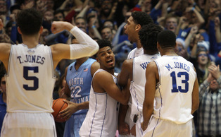 The Blue Devils looked dead in the water in the closing minutes Wednesday, but a furious comeback left Quinn Cook, Tyus Jones and Jahlil Okafor celebrating after the final buzzer.