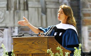 Former Duke student Melinda Gates, Trinity 86' and Fuqua '87, speaks to students about the importance of communication at Commencement Sunday.