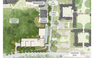 The new Student Health and Wellness Center will be located across from Penn Pavilion and next to Kilgo Quadrangle, as shown above.