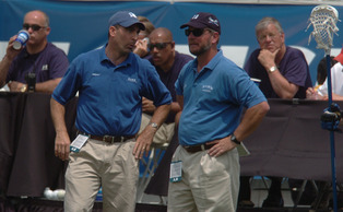 "Former Duke men's lacrosse head coach Mike Pressler, pictured right, was the subject of a ""60 Minutes"" episode that aired Sunday entitled ""Rush To Judgement."""