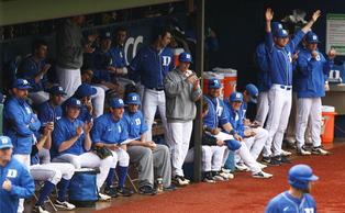 Duke's bench celebrated as the Blue Devils fought to preserve Sunday's victory to seal the sweep.