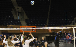 Senior Jeme Obeime put forth a career-high 24 kills in Duke's 3-2 loss to North Carolina Wednesday.