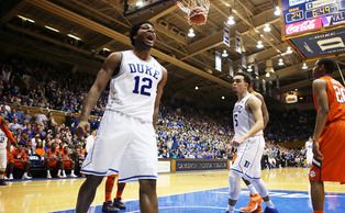 Freshman Justise Winslow scored 17 points in the first half en route to a double-double as the Blue Devils topped Clemson Saturday.
