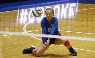 Sophomore libero Sasha Karelov recorded 26 digs in the Blue Devils sweep of Clemson Friday.