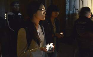Students honor those devastated by Typhoon Haiyan.