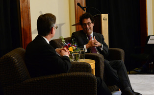 Tony Kushner discussed art and politics at the Sanford School of Public Policy Wednesday.