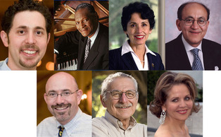 Clockwise from top left, honorary degree recipients: David Levin, McCoy Tyner, France Cordova, Rakesh Jain, Renee Fleming, Harold Mooney and Michael Feinberg.