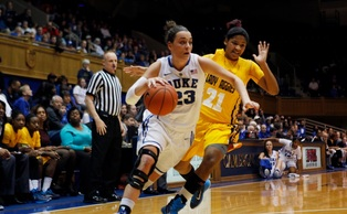 Redshirt freshman Rebecca Greenwell poured in 20 points—including four 3-pointers—in the Blue Devil victory.