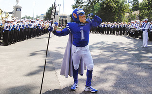 The Blue Devil poses nearby Wallace Wade  Stadium, where about 250 students gathered for DevilsGate before the football game against Kansas on Saturday.
