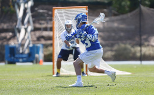 Freshman Justin Guterding was one of three Blue Devils to score three goals as Duke rolled past the Golden Eagles on the road Saturday.
