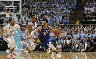 Freshman Tyus Jones combined for 46 points in his two Tobacco Road rivalry games, with 24 coming in Saturday's 84-77 win at North Carolina.