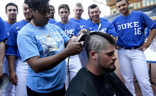 The Blue Devil baseball team shaved their heads to benefit Vs. Cancer, a foundation that contributes to both the local and national fight against cancer.