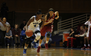 Freshman Sierra Calhoun had 19 points to lead the Blue Devils in a rout of UMass-Lowell Friday night.