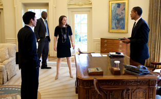 Former Duke forward Reggie Love (second from left) served as President Barack Obama's personal aide for four years and recently wrote a book regarding the experience.