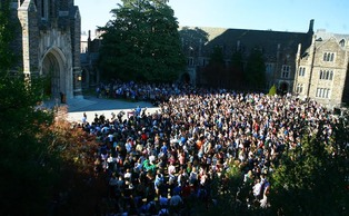 The crowd for Wednesday's forum filled the Chapel Quadrangle.