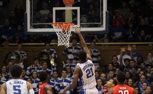 Junior Amilie Jefferson poured in 16 points and 12 rebounds to lead the Blue Devils to victory against Furman.