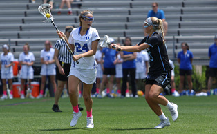 Senior Katie Trees and the Blue Devils could not complete the comeback Sunday against Johns Hopkins.