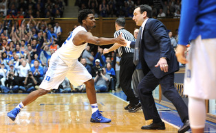 Justise Winslow got a high-five from head coach Mike Krzyzewski after a second half 3-pointer helped break the game open.