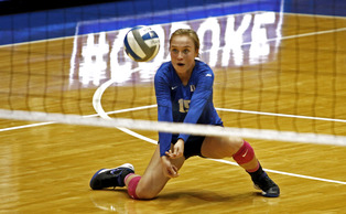 Sophomore libero Sasha Karelov recorded 10 digs in Duke's victory against Wake Forest Oct. 12, and will look to replicate her success Friday in a rematch with the Demon Deacons. | Lesley Cheng-Young