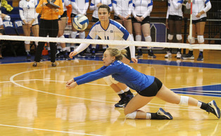 Despite sophomore libero Sasha Karelov's best efforts, the No. 21 Blue Devils were upset by Virginia Tech on the road Sunday.