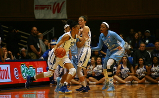 Freshman Azura Stevens recorded a double-double as the Blue Devils surged back from an 11-point halftime deficit against North Carolina Sunday.