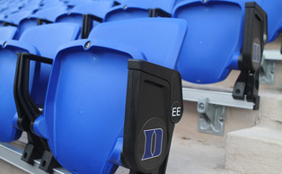 The new blue seats will give fans a more comfortable viewing experience inside Wallace Wade Stadium.