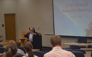 Provost Peter Lange discussed his role at the University at Tuesday's GPSC meeting.
