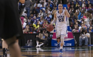 Redshirt freshman Rebecca Greenwell was held to four points in the first meeting against Notre Dame and will need a big afternoon to send the Blue Devils to the tournament final.