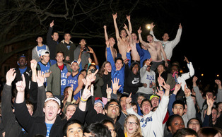 Cameron Crazies celebrate Duke Men's Basketball victory against UNC.