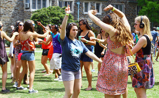 Students participated in the silent disco during the Last Day of Classes' celebration.