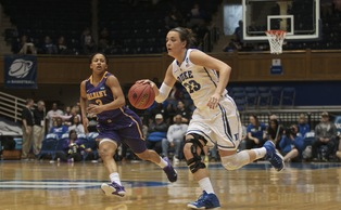 Rebecca Greenwell's 3-pointer in the final 20 seconds helped the Blue Devils avoid their second straight NCAA tournament exit on their home floor.