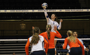 Junior outside hitter Emily Sklar led the Blue Devils to their 10th consecutive victory Friday against Virginia.