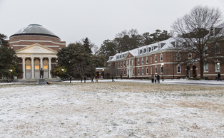Less than an inch of snow accumulated Tuesday afternoon, causing the provost to cancel classes starting before 11 a.m. Wednesday.