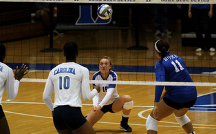 Sophomore libero Sasha Karelov and the Duke squad had their perfect record at home broken up by the Tar Heels Sunday.