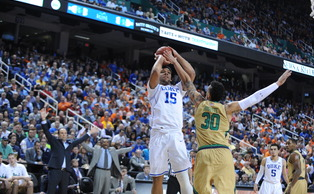 Jahlil Okafor's 28 points weren't enough as Duke's comeback bid fell short in the semifinals of the ACC tournament.