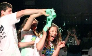 Students get slimed at DUU's Double Dare competition, where Duke beat UNC-Chapel Hill Saturday.