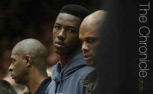 Elite freshman Harry Giles was also in attendance for the Blue Devils win against the Hurricanes. (Photo by Nicole Savage/The Chronicle)