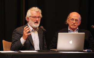 Nobel Prize winner John Sulston speaks Monday at the Sanford School of Public Policy.
