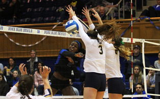 Senior Jeme Obeime played her final game at Cameron Indoor Stadium Sunday, notching a 3-1 victory against Notre Dame.