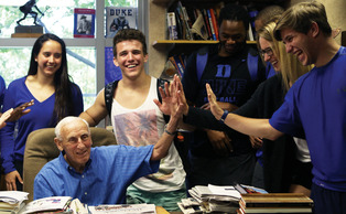 Al Buehler taught one of his last classes in his office in Cameron Indoor Stadium Monday afternoon. Buehler has been at Duke for 60 years.