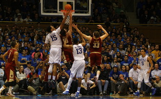 Jahlil Okafor finished with a career-high 28 points in the first ACC game of his career as Duke routed Boston College.