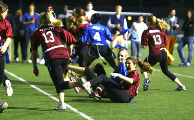 In the annual Powder Puff Bowl, Delta Delta Delta beat Pi Beta Phi 7-0 on the turf fields next to Koskinen Stadium.