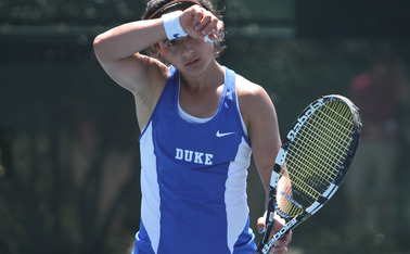 Senior Hanna Mar concluded her singles career as a Blue Devil with 100 career victories.