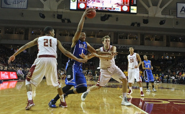 Freshman Jabari Parker notched a career-high 29 points and 16 rebounds as the Blue Devils ran away with a 21-point win at Boston College.