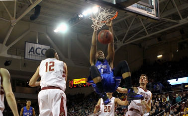 Freshman Jabari Parker attacked the rim on his way to 29 points and 16 boards as Duke notched a 21-point win against Boston College.